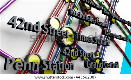 Subway Lines and Stations of New York City subways Manhattan 3D IllustrationThis is NOT the official NYC Subway map.