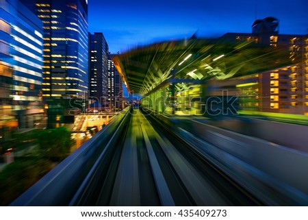 Subway Motion blur of a city from inside, monorail in Tokyo.