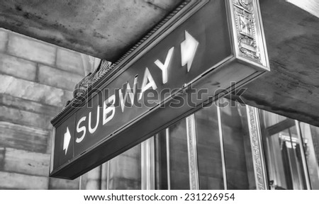 Subway old vintage sign in New York station. - stock photo