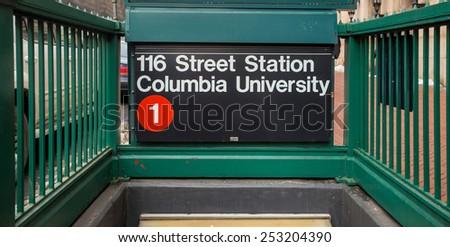 Subway sigh Columbia University in New York - stock photo