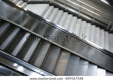 Subway station elevators and stairs   - stock photo