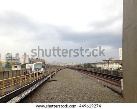 Subway Station Train - stock photo