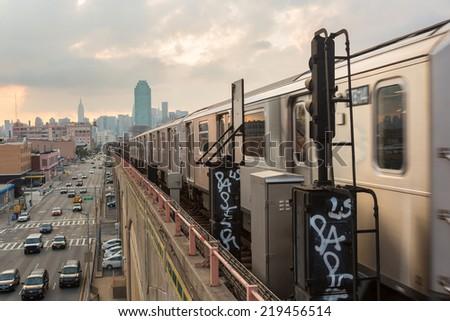 Subway Train in New York before Sunset - stock photo