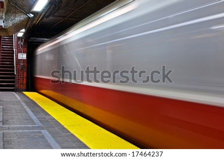 subway train leaving station in boston massachusetts