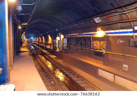 subway tunnel in new york city - stock photo