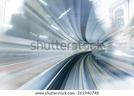 Subway tunnel with Motion blur of a city from inside, monorail in Tokyo. - stock photo