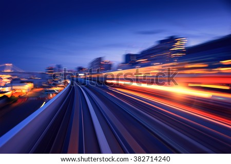 Subway tunnel with Motion blur of a city from inside, monorail in Tokyo - stock photo
