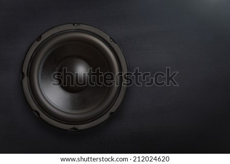 Subwoofer speaker with copy space - stock photo