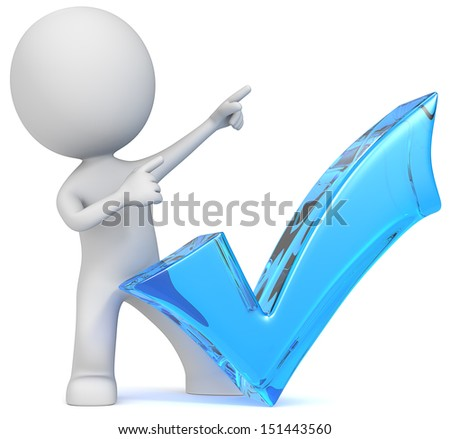 Succeed. The Dude with blue glass check mark. Pointing upward. - stock photo