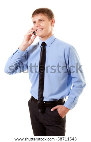 succeeding manager with telephone on white background - stock photo
