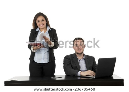 Succesful business team working hard against a white background - stock photo