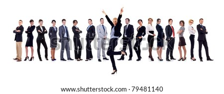 Succesful business woman and her team isolated over a white background