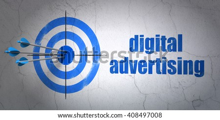 Success advertising concept: arrows hitting the center of target, Blue Digital Advertising on wall background, 3D rendering - stock photo