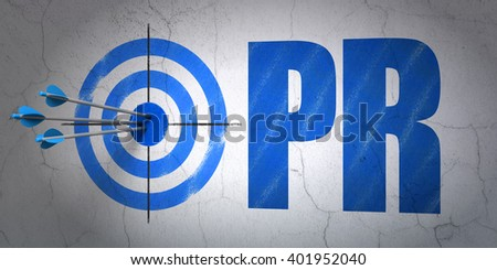 Success advertising concept: arrows hitting the center of target, Blue PR on wall background, 3D rendering - stock photo