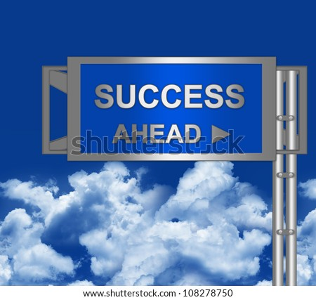 Success Ahead on Blue Highway Street Sign With Blue Sky Background