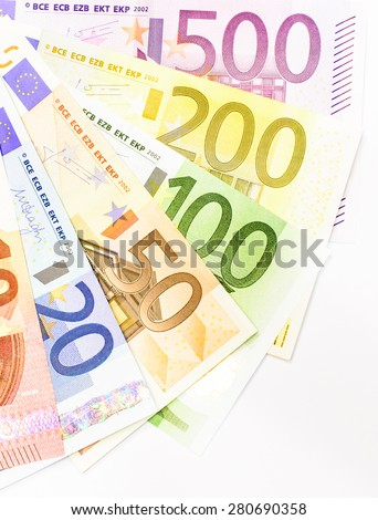 Success and got profit from business with colorful of Euro currency,money banknotes on white background - stock photo