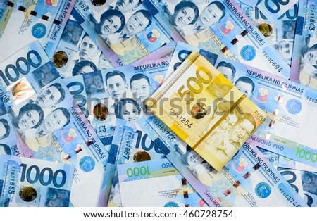 Success and got profit from business with colorful of Philippines peso money,currency banknotes and ready for exchange