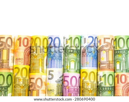 Success and got profit from business with colorful roll of Euro currency,money banknotes on white background - stock photo