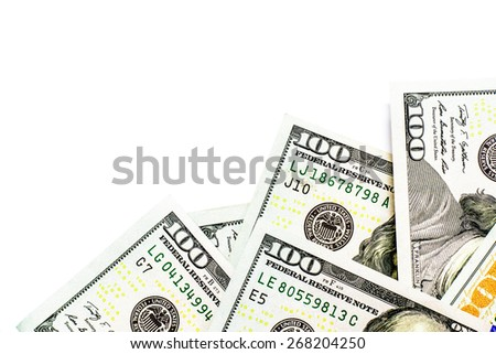 Success and got profit from business with hundred us dollars banknote on white background - stock photo