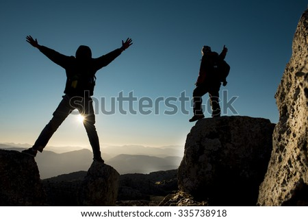 success and happiness summit goals - stock photo