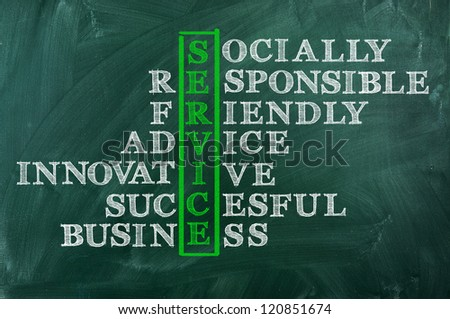Success and other related words, handwritten in crossword on green blackboard.Socially responsible successful   Business concept. - stock photo