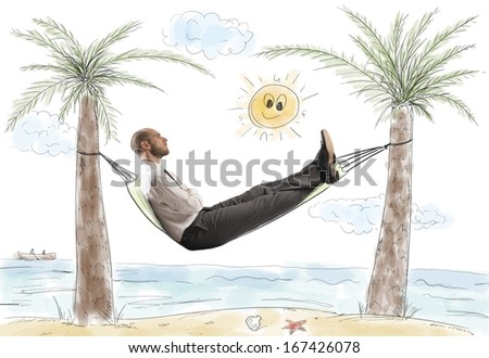 Success and relax of a dreaming businessman - stock photo