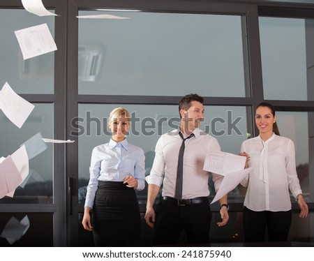 success and winning concept - happy business team in office