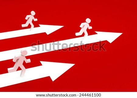 success arrow 3d with running men