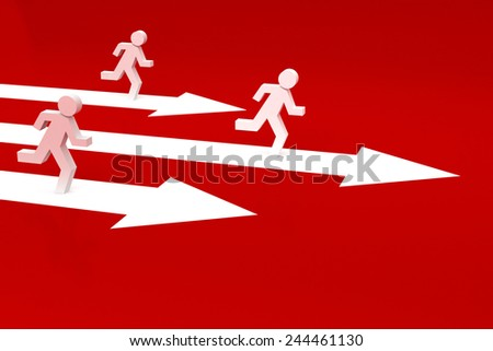 success arrow 3d with running men icon