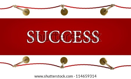 success. Barrier rope and red carpet isolated on white background High resolution 3D - stock photo