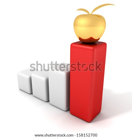success business bar graph with golden apple on red top - stock photo