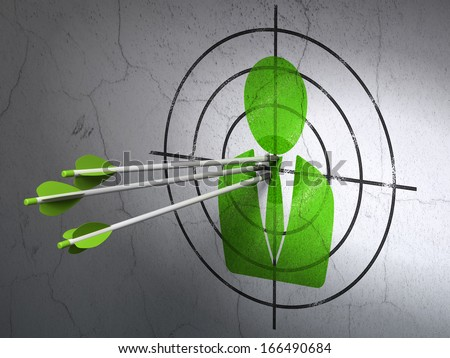 Success business concept: arrows hitting the center of Green Business Man target on wall background, 3d render