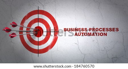 Success business concept: arrows hitting the center of target, Red Business Processes Automation on wall background, 3d render - stock photo