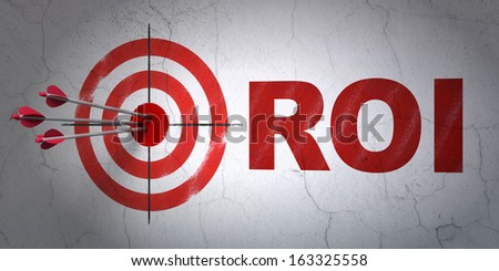 Success business concept: arrows hitting the center of target, Red ROI on wall background, 3d render - stock photo