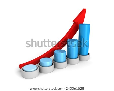 success business growing blue bar chart graph with arrow. 3d render illustration - stock photo