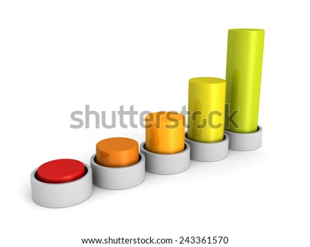 success business growing colorful bar chart graph. 3d render illustration - stock photo