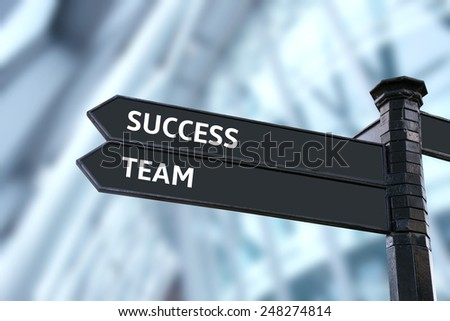 success business, signpost with keywords