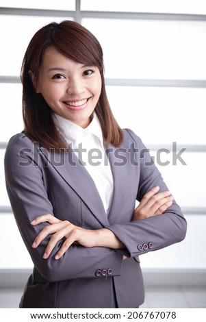 success business woman in office, asian - stock photo