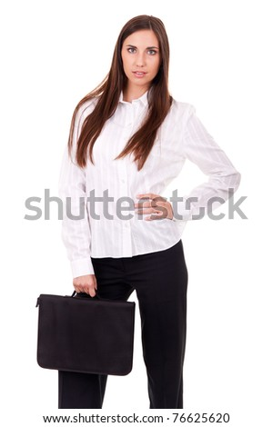 success businesswoman with briefcase, isolated on white background - stock photo