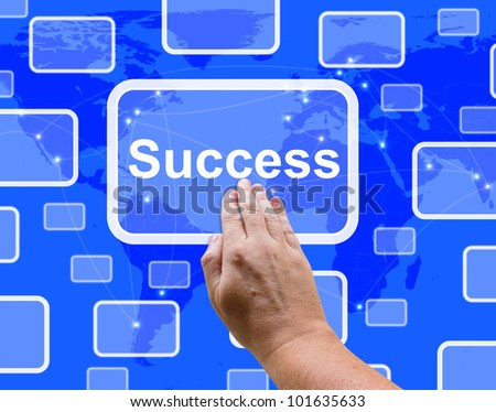 Success Button Being Pressed By A Hand Showing Achievement And Determination