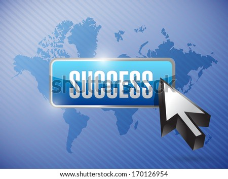 success button over a world map background graphic illustration - stock photo