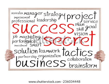 success cecret and other related words handwritten on whiteboard with hands - stock photo