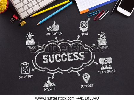 Success Chart with keywords and icons on blackboard - stock photo