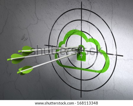 Success cloud computing concept: arrows hitting the center of Green Cloud With Padlock target on wall background, 3d render