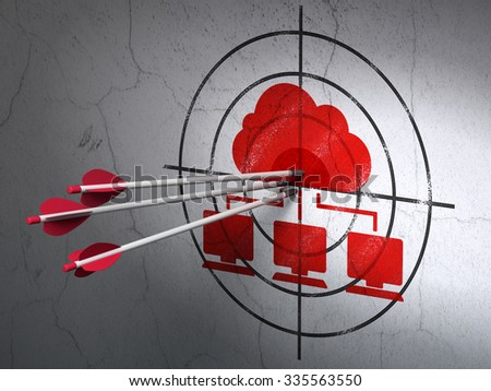 Success cloud technology concept: arrows hitting the center of Red Cloud Network target on wall background - stock photo