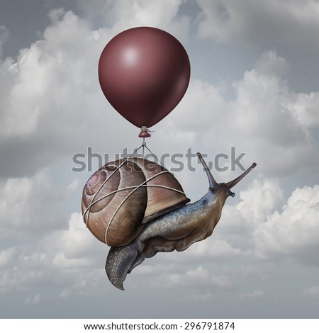 Success concept  and business advantage idea or game changer symbol as a balloon lifting up a slow generic snail as a new strategy and innovation metaphor for creative,thinking. - stock photo