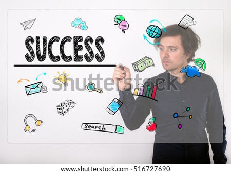 Success concept. Businessman writing with black marker on visual screen