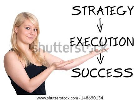 Success concept: Businesswoman introduce a success concept on a whiteboard