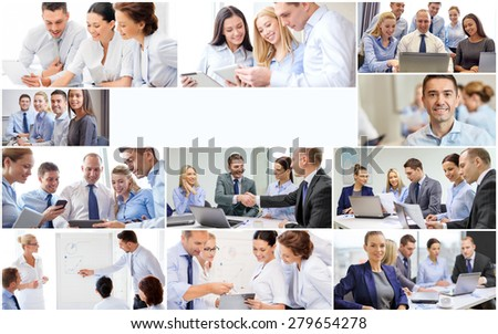 success concept - collage with many business people and copyspace - stock photo