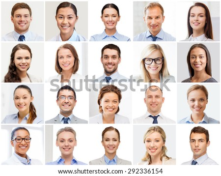 success concept - collage with many business people portraits - stock photo